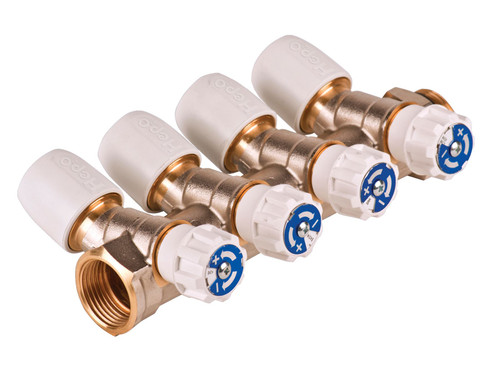 Hep2O 15mm x 3/4 Inch Brass 4 Port Manifold