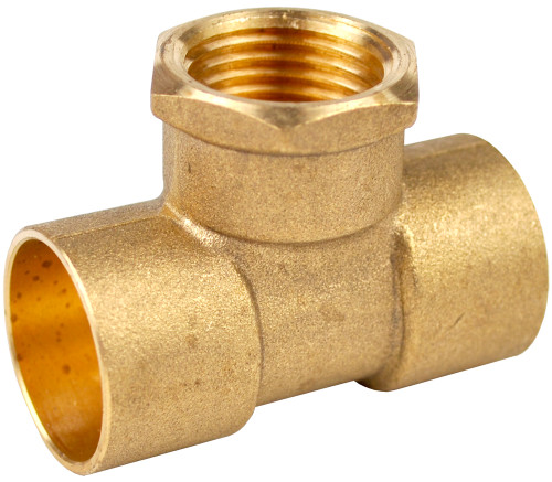 """15mm x 15mm x 1/2"""" Threaded Centre Tees - End Feed"""