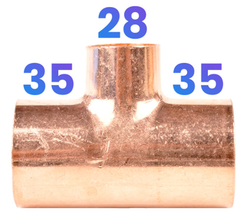 35mm x 35mm x 28mm End Feed Reducing Tee