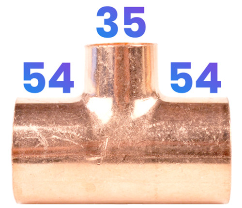 54mm x 54mm x 35mm End Feed Reducing Tee