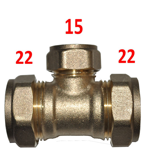 22mm x 22mm x 15mm Compression Reducing Tee