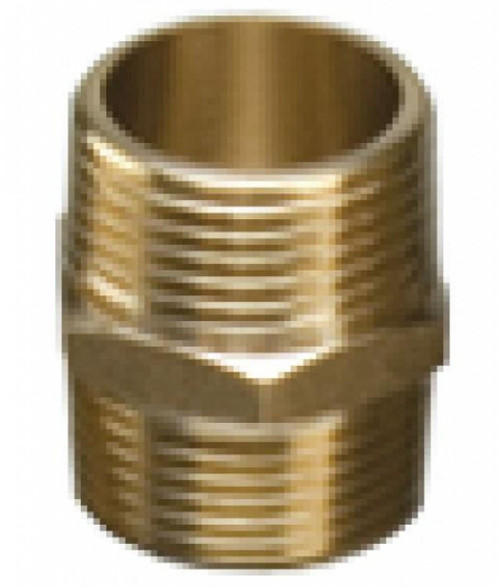 "1 1/2"" Brass Threaded Hexagon Nipple"