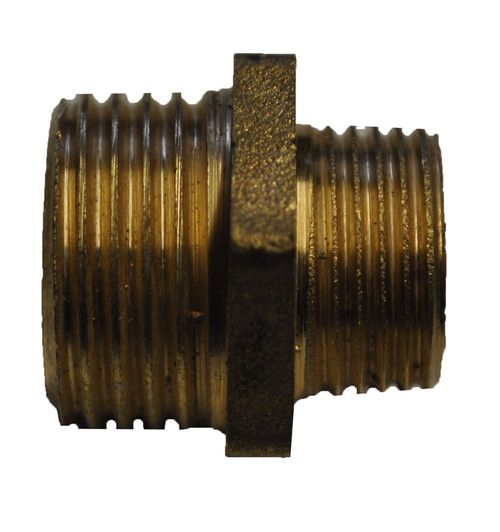 "1"" x 3/4"" Brass Hexagon Reducing Nipple"