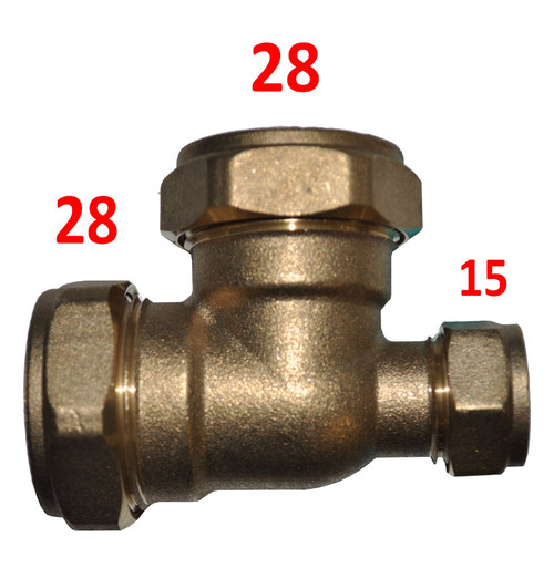 28mm x 15mm x 28mm Compression Reducing Tee
