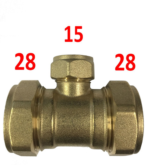 28mm x 28mm x 15mm Compression Reducing Tee