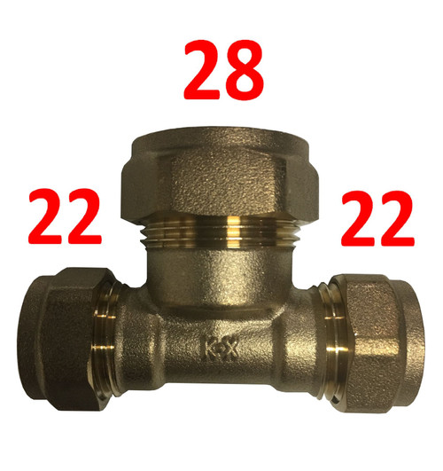 22mm x 22mm x 28mm Compression Reducing Tee