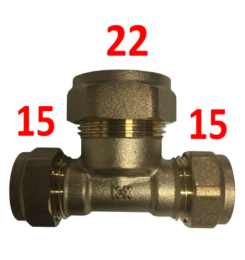 15mm x 15mm x 22mm Compression Reducing Tee