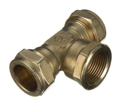 """15mm x 15mm x 1/2"""" Compression Threaded Centre Tee"""