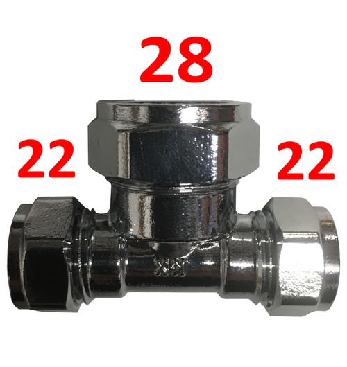 22mm x 22mm x 28mm Compression Chrome Reducing Tee