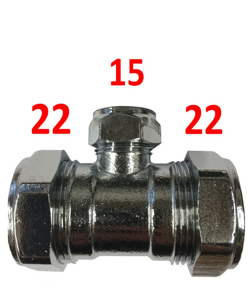 22mm x 22mm x 15mm Compression Chrome Reducing Tee