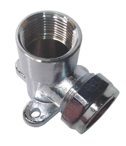 22mm x 3/4 Inch BSP Chrome Wallplate Elbow