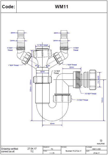 Dimensions of McAlpine WM11 Sink Trap with Twin 135° Domestic Appliance Nozzles