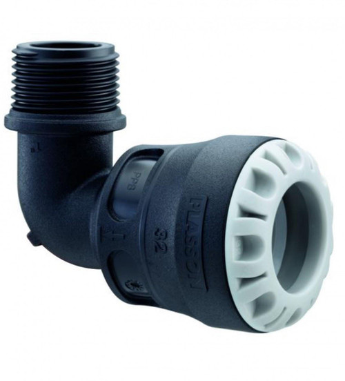 """Plass-ONE 20mm x 1/2"""" MDPE Push Fit Threaded Male Elbow"""