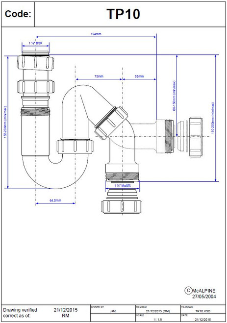 """Dimensions of McAlpine 1 1/2"""" BSP Tubular All One S Trap- TP10"""