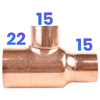 22mm X 15mm X 15mm Reducing Tee - End Feed