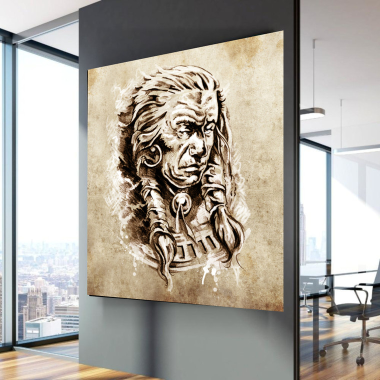 INDIAN HEADPrint Home Wall Art Decor Great for Gift Home Picture Poster / Canvas