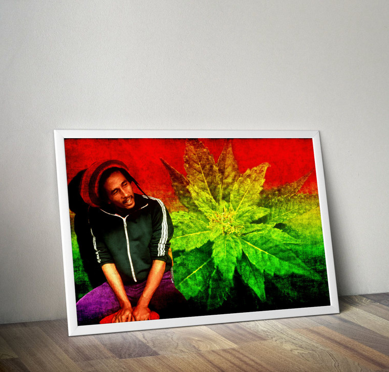 BOB MARLEY Inspiration Rastafarian Cannabis Print Art Home Wall Art Print Great for Gift Home Decor Picture Poster / Canvas
