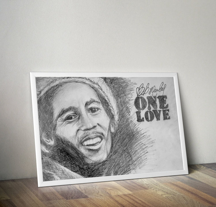 BOB MARLEY ONE LOVE PENCIL Inspiration Rastafarian Cannabis Print Art Home Wall Art Print Great for Gift Home Decor Picture Poster / Canvas