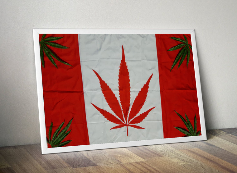 CANNABIS CANADIAN FLAG Inspiration Rastafarian Cannabis Print Art Home Wall Art Print Great for Gift Home Decor Picture Poster / Canvas