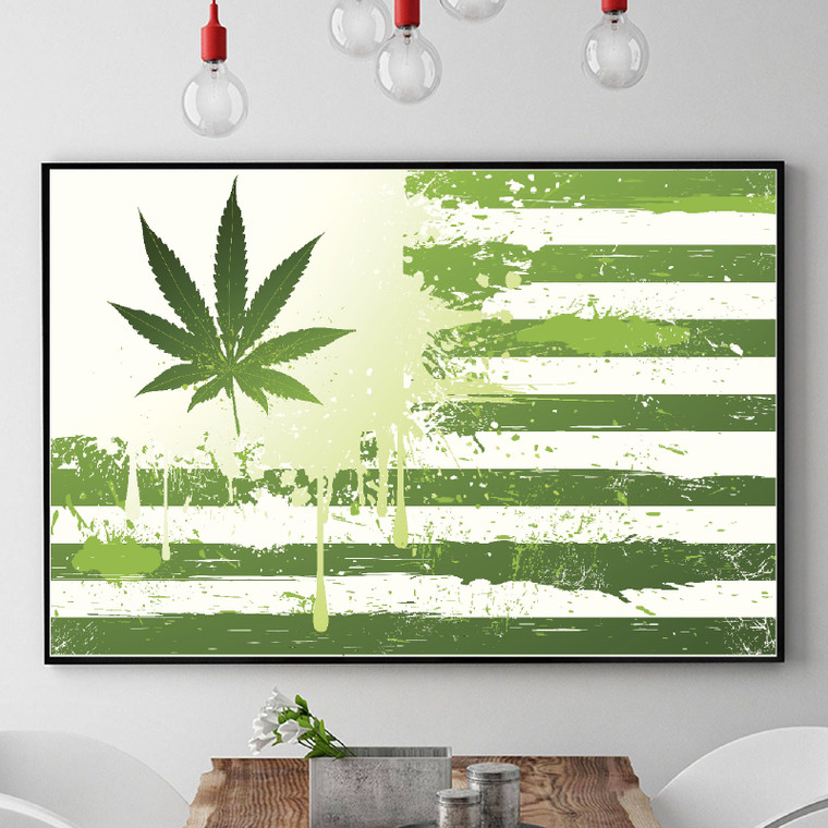 CANNABIS FLAG Inspiration Rastafarian Print Art Home Wall Art Print Great for Gift Home Decor Picture Poster / Canvas