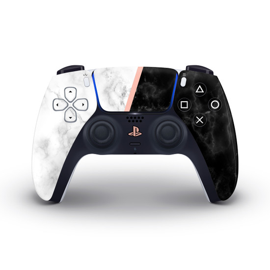 Black & White Marble Playstation 5 Controller Skin