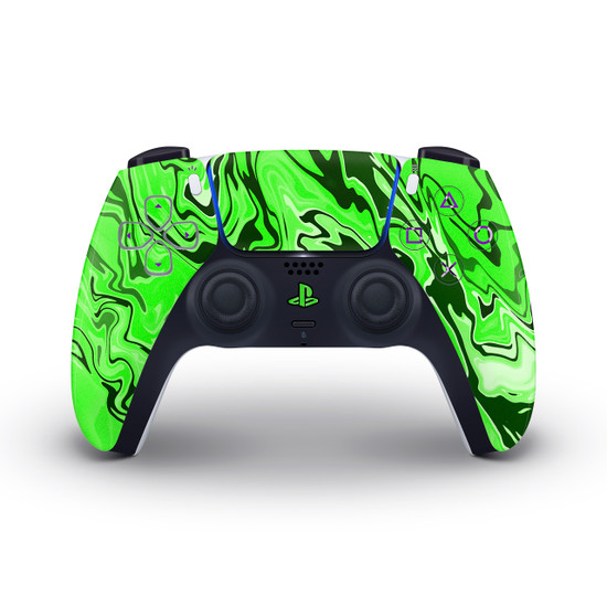 Green Marbling Playstation 5 Controller Skin