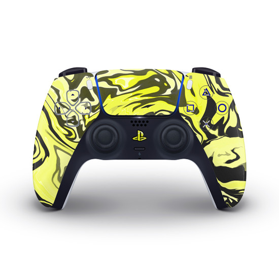 Yellow Marbling Playstation 5 Controller Skin