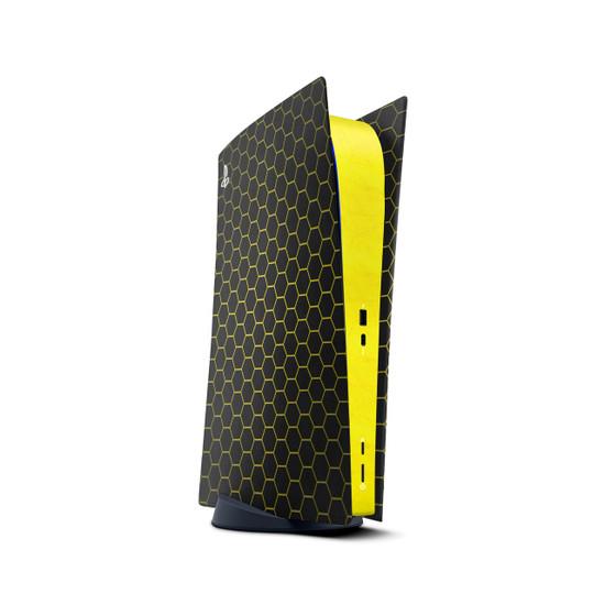 Sun Yellow Hex Armour Playstation 5 Digital Edition Console Skin