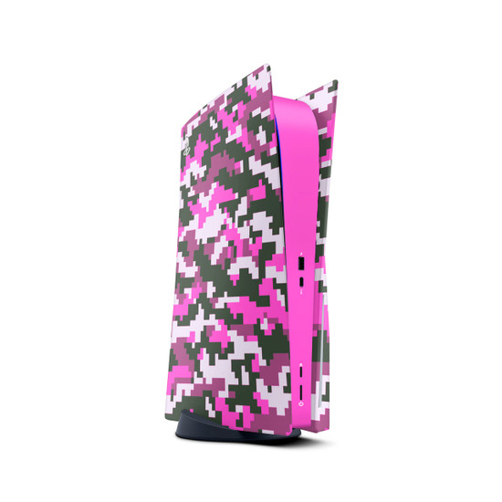 Pixel Pink Camouflage Playstation 5 Console Skin