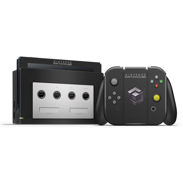 Gamecube V2 Black Nintendo Switch Skin Set