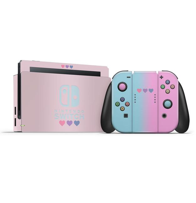 Pastel Pink & Blue Hearts Nintendo Switch Skin Set