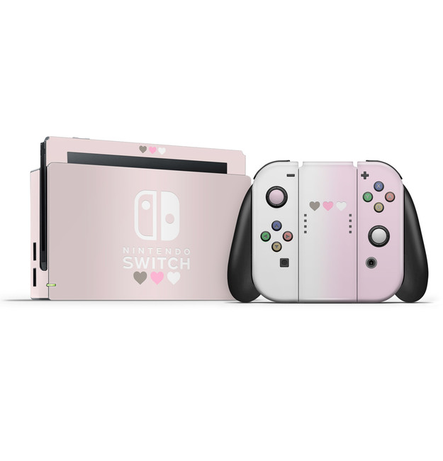 Pastel Pink & White Hearts Nintendo Switch Skin Set