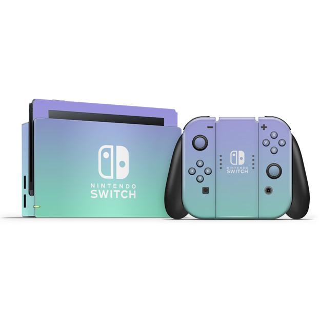 Nintendo Switch Dock & Switch Joycons & Grip Lavender Ombre Skins