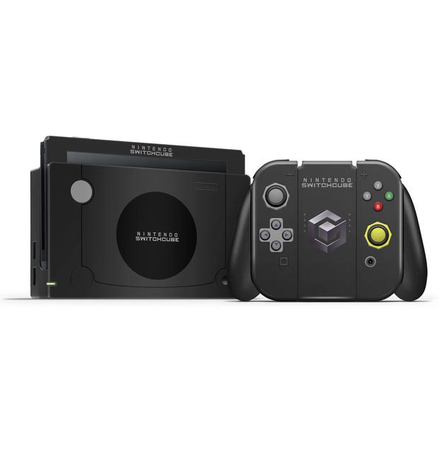Gamecube Black Nintendo Switch  Skin Set