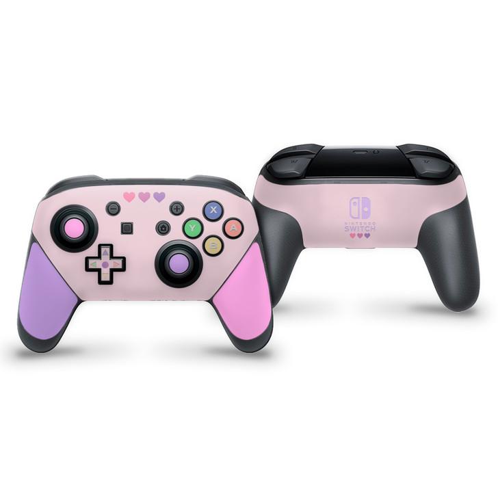Pastel Pink & Purple Hearts Nintendo Switch Pro Controller Skin