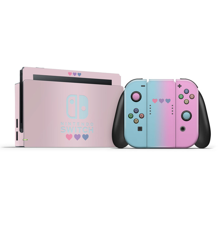 Pastel Pink & Blue Hearts Nintendo Switch Skin Set