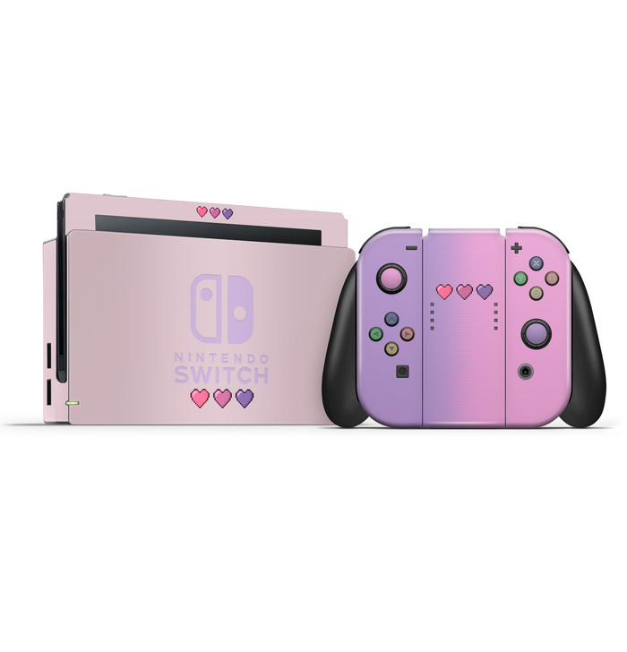 8-Bit Pastel Pink & Purple Hearts Nintendo Switch Skin Set