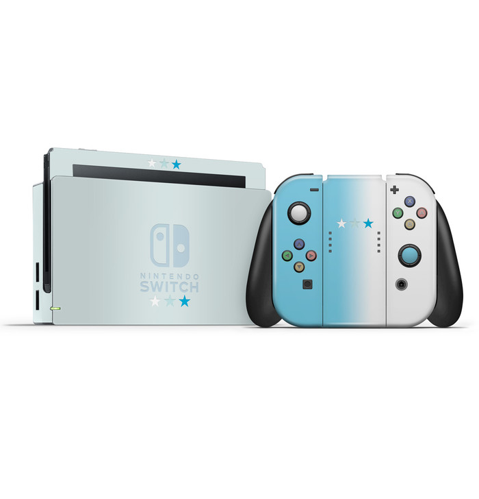 Pastel Blue & White Stars Nintendo Switch Skin Set