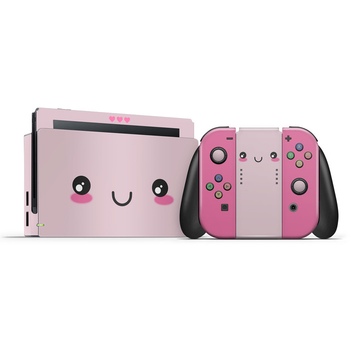 Cute Kawaii Face Nintendo Switch Skin Set