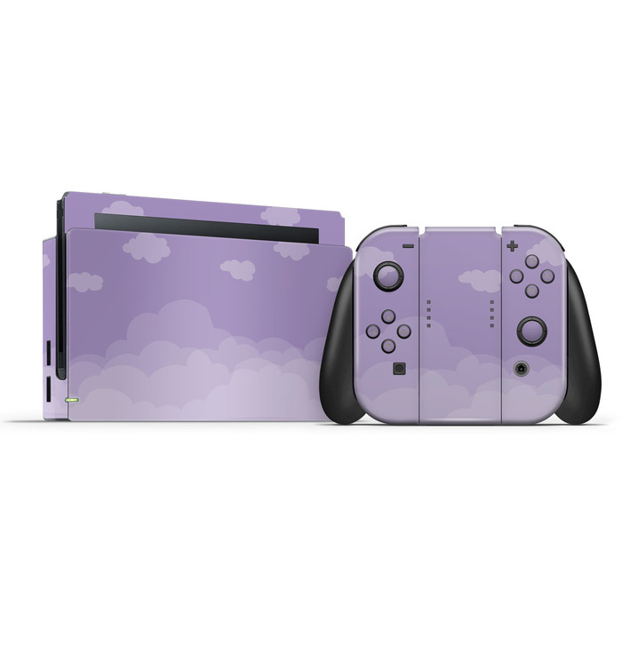Pastel Dull Lavender Clouds Nintendo Switch Skin Set