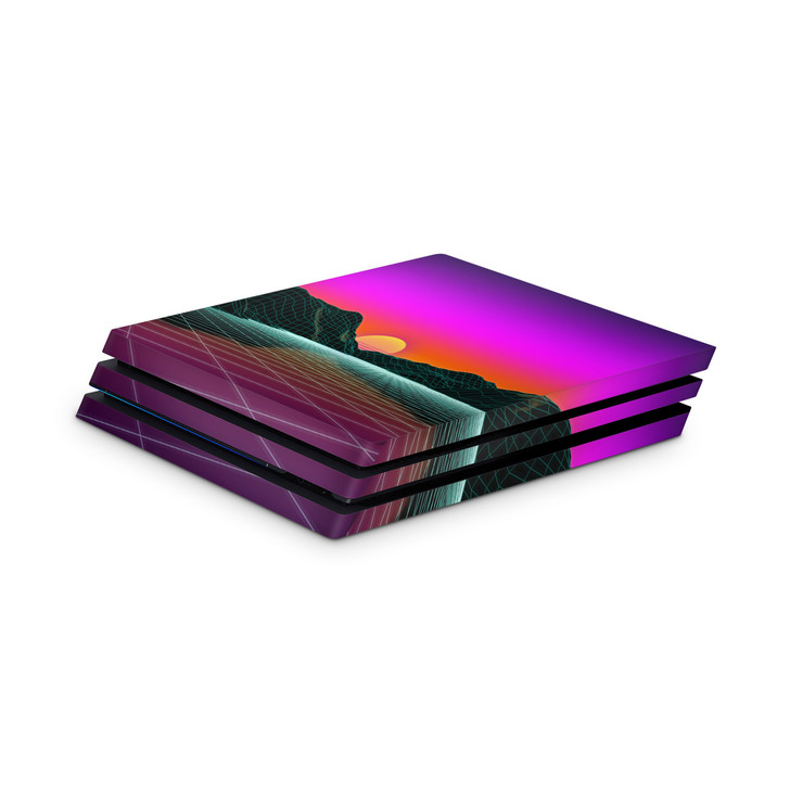 Outrun Mountain Sunset Playstation 4 Pro Console Skin