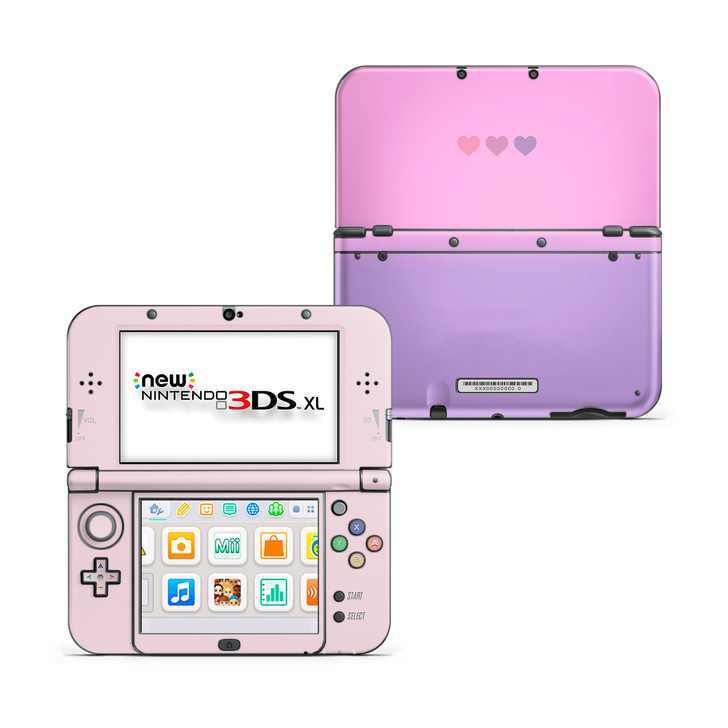 Pastel Pink & Purple Hearts Nintendo New 3DS XL Skin