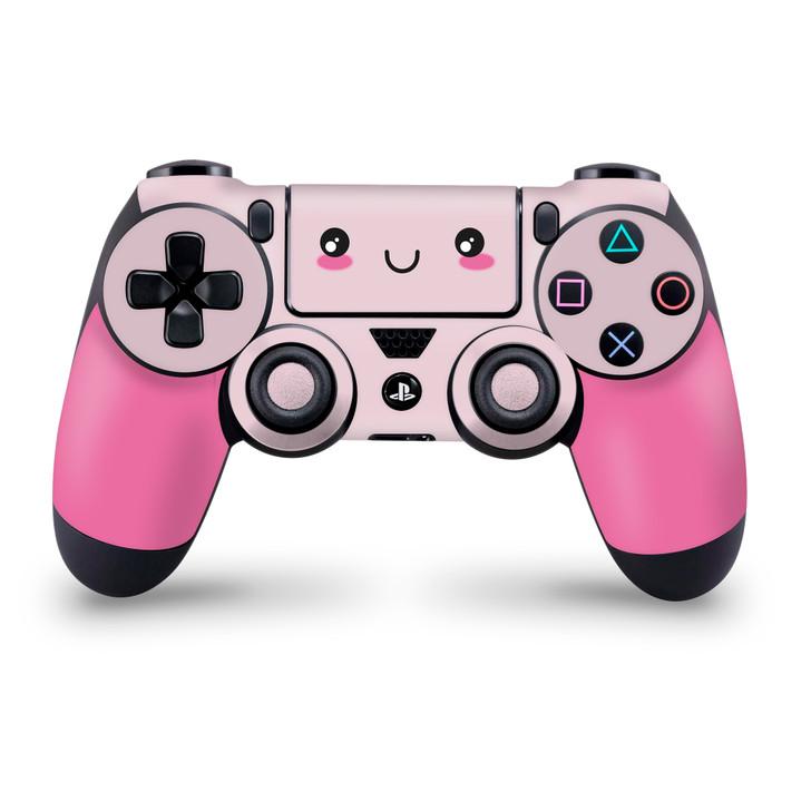 Cute Kawaii Face Pink PS4 Controller Skin