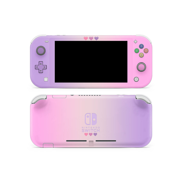 Pastel Pink & Purple Hearts Nintendo Switch Lite Skins