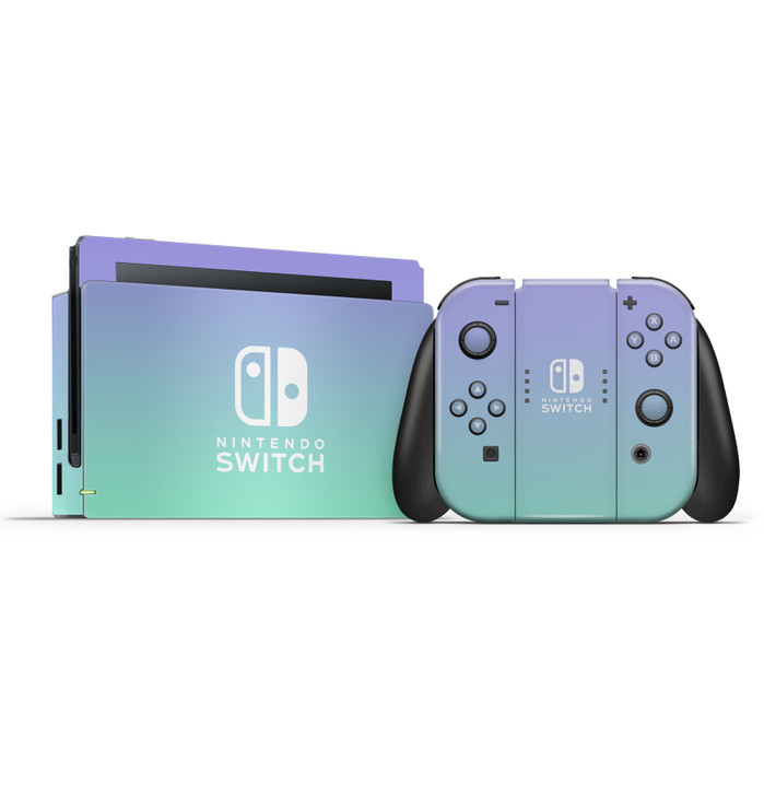 Nintendo Switch Dock & Switch Joycons & Grip Lavender Ombre Skins