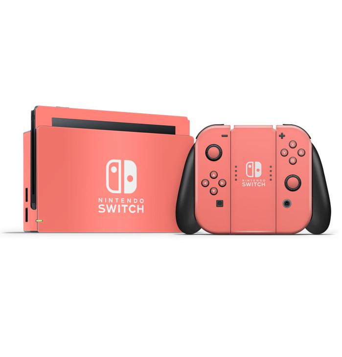 Nintendo Switch Dock & Switch Joycons & Grip Coral Pink Skins
