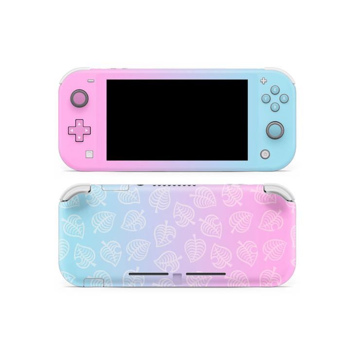 Nintendo Switch Lite AC Leaf Pattern Pink & Blue Skin