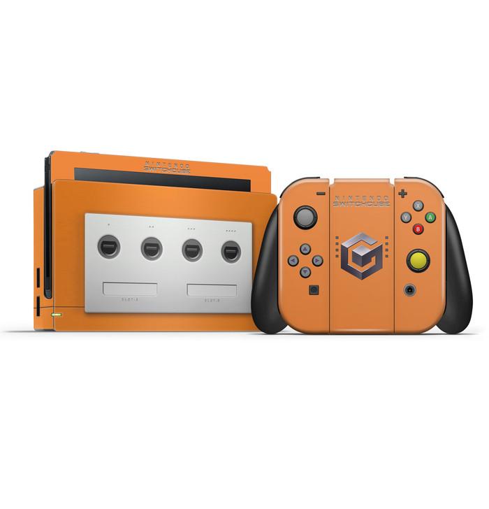 Gamecube V2 Orange Nintendo Switch  Skin Set