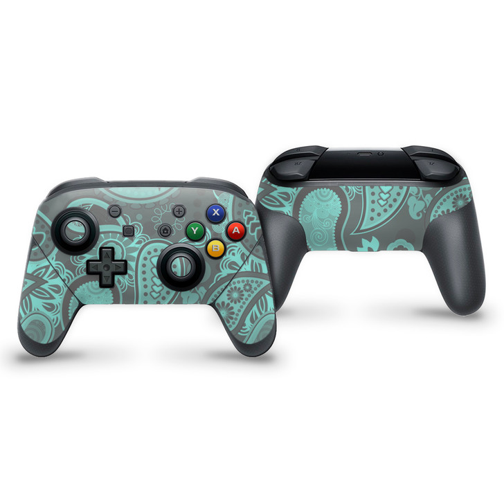 Cool Grey Paisley Switch Pro Controller Skin