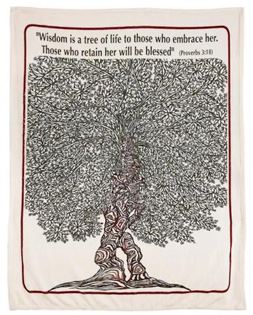 "Blanket - Tree of Life (Proverbs 3:18) 60""x48"""